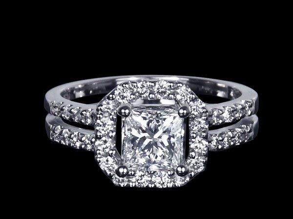 【公信精品】鑽石女戒指 1.00克拉 公主方切工 白K金天然鑽戒 1克拉鑽戒