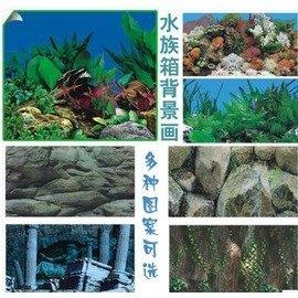 魚缸背景畫水族箱背景畫水族高清造景紙裝飾壁紙-7901003