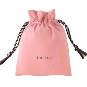 【Q寶媽】THREE 櫻花手做束口袋  收納袋 / 收納包 / 束口包 / 收納束口袋 粉紅色 全新專櫃貨