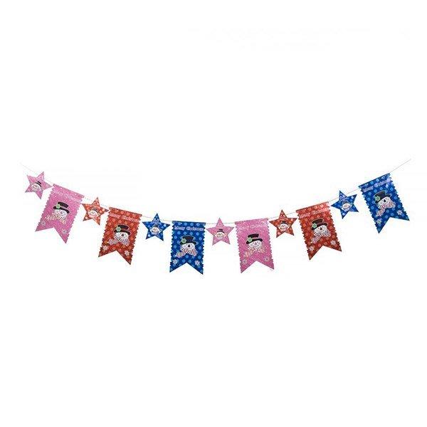 節慶王【X124501】串旗-小星+大旗,聖誕佈置品/聖誕節紙品/串旗/掛飾/吊飾