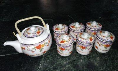 早期 祥榮磁器 彩繪杯壺組 。。媲美大同磁器。。已絕版