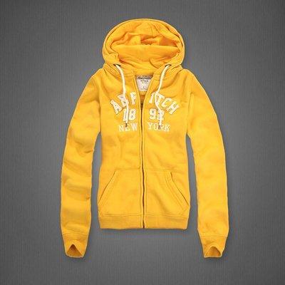 Abercrombie&Fitch 1892-紐約款式-黃色,美國麋鹿女生連帽外套纯棉休閒帽T【A&F全新品】