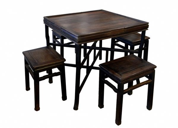 【景徽軒古傢俬】~~~   (老件)  老酸枝摺疊式棋牌桌椅組 5件/套   K551