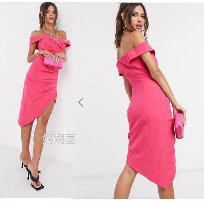 (嫻嫻屋) 英國ASOS-Lavish Alice優雅時尚名媛粉紅色一字V領褶皺及膝裙洋裝禮服 SI20