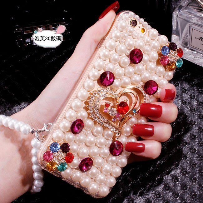OPPO R17 Pro 手機殼 寶石愛心鉆 全包軟殼 珍珠滿鉆 手腕掛繩 珍珠掛繩 珍珠殼 手腕掛繩