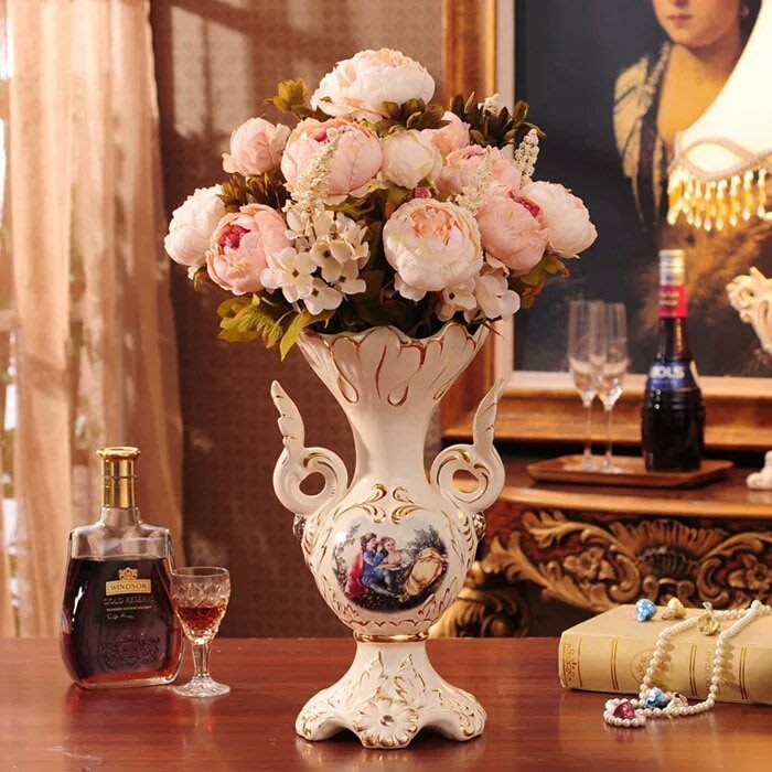 粉紅玫瑰精品屋~歐式復古女王高檔陶瓷花瓶~不含花