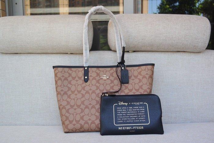 【紐約精品舖】COACH 73325 女士PVC配牛皮雙面使用托特包 子母包 購物袋 單肩手提包 超低直購 美國正品代購