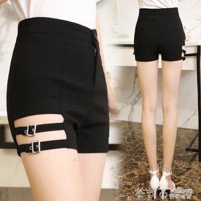 時尚新款正韓破洞高腰修身顯瘦黑色短褲緊身彈力鏤空熱褲