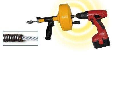 水管疏通器 0125DD 自動離合器(Clutch) 手動/電動 自備電鑽360度轉除油垢 長7.6米頭8.5mm  通水管