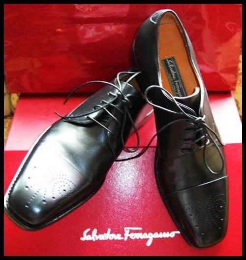 S. FERRAGAMO LAVORAZIONE ORIGINALE Tramezza全新黑色手工製作皮鞋(原價$49200)