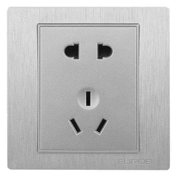 千夢貨鋪-歐奔開關插座家用86型5五孔墻壁銀色16a空調電源二三插座開關面板#插座#開關插座#暗盒#三孔插座#爆款