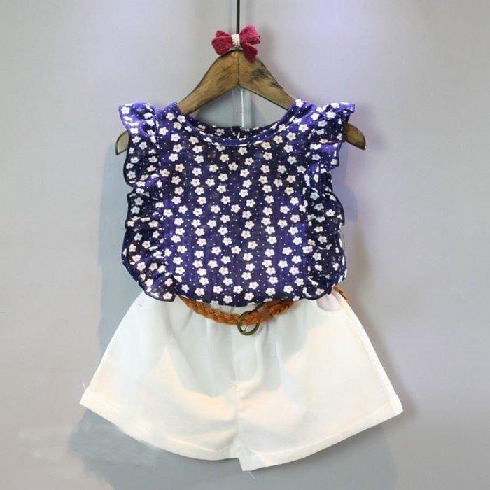 【溜。溜。選物】春夏新款*1+1小童雪紡小花上衣+短褲套裝兩件組