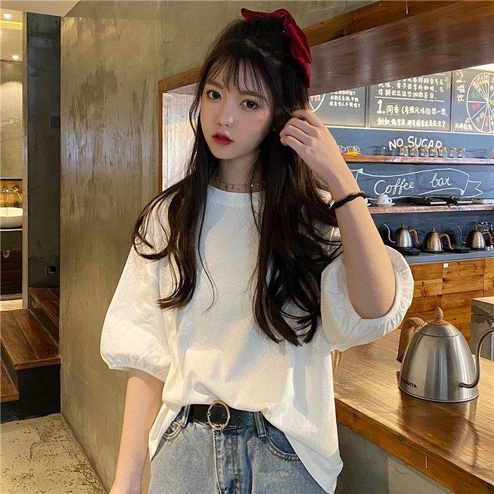 小香風 短袖T恤 時尚穿搭 韓版 燈籠袖網紅ins洋氣寬松大碼五分袖T恤上衣女學生