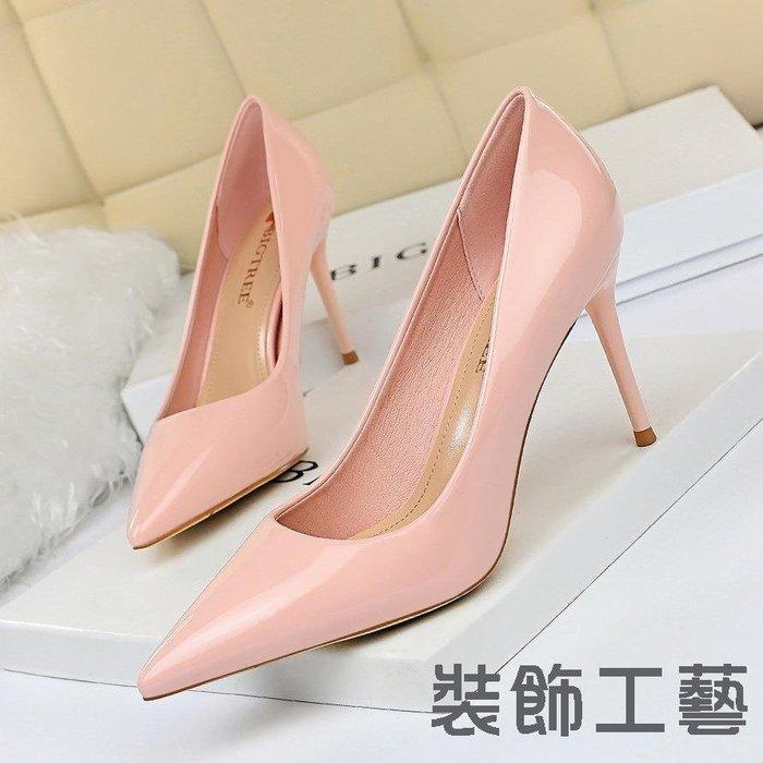 9236-1韓版時尚簡約細跟高跟漆面女鞋淺口尖頭性感顯瘦高跟鞋單鞋