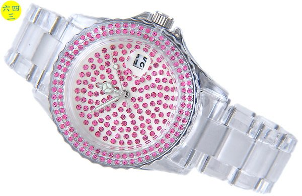 @(六四三精品)@最新潮流粉紅水鑽面盤樂高系水晶鑽石英錶.......!