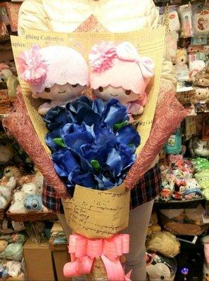 公仔花束 日本 原裝  Sanrio 可愛  Little Twin Star KiKi LaLa 公仔 卡通花束 禮盒