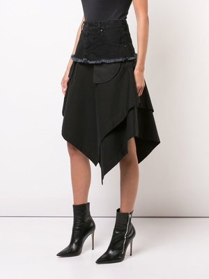 Unravel Project 黑色 棉質 牛仔拼接 不對稱裙