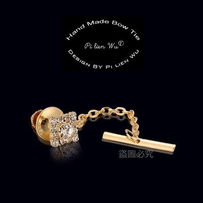 男士精品❤↜玫瑰。誌 商務金色鑲鑽領帶...