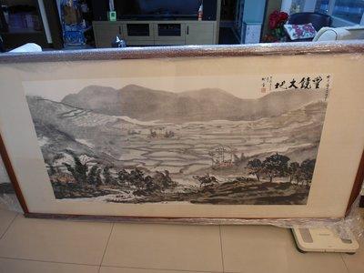 台灣鄉土畫家林晉大師千禧年全開國畫原作-豐饒大地
