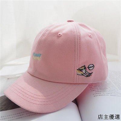 帽子女春夏可愛貓咪軟妹棒球帽韓版百搭字母刺繡鴨舌帽男潮遮陽帽