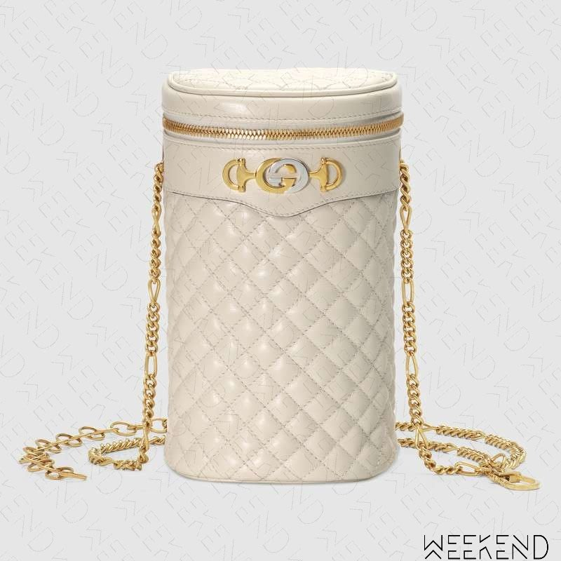 【WEEKEND】 GUCCI Quilted Leather 皮革 圓筒 腰包 肩背包 白色 19春夏 572298