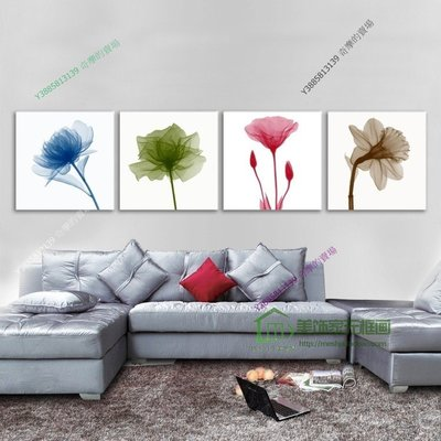 【40*40cm】【厚2.5cm】透明花-無框畫裝飾畫版畫客廳簡約家居餐廳臥室牆壁【280101_025】(1套價格)
