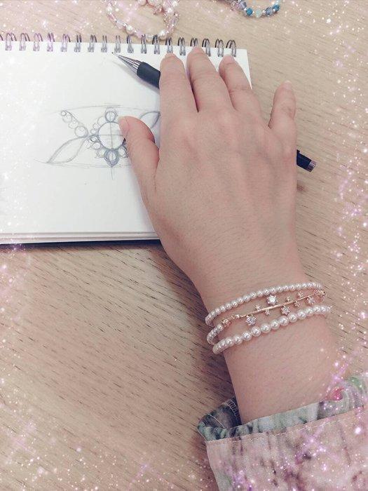 3MM純白珍珠手環一條(抗過敏) .日本彈性絲線.簡約大方.層次好搭配˙Jill&Joe施華洛世奇水晶˙信用卡超商可