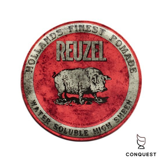 【 CONQUEST 】Reuzel Pomade 4oz 紅豬 豬油 紅色 水洗式髮油 一般款 髮束感強烈緊實