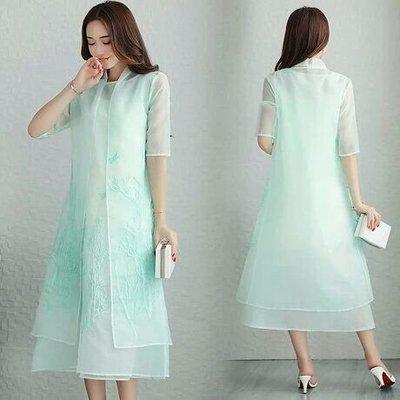 天使佳人婚紗禮服~~~~~~淺綠色兩件套歐根紗刺繡夏裝連衣裙
