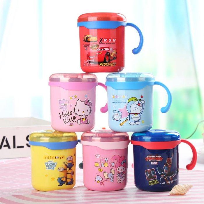 KITTY哆啦卡通兒童水杯家用304不銹鋼口杯幼兒園寶寶防摔喝水杯帶手柄帶蓋杯子