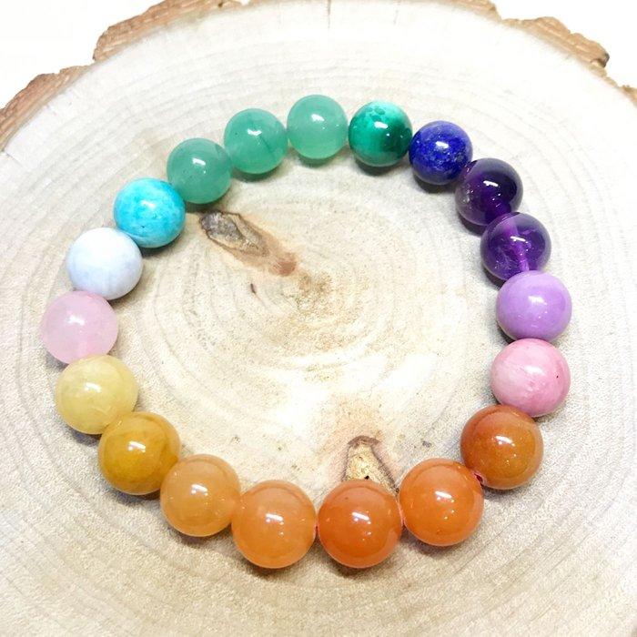【收藏家】天然多寶手珠 超美的彩虹配色 粉晶 黃髮晶 綠髮晶 天河石 海藍寶 紫水晶 紫雲母