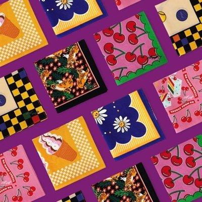 安緣軒~wiggle韓國創意可愛手絹卡通手帕棉質餐巾發帶包包裝飾女式大方巾