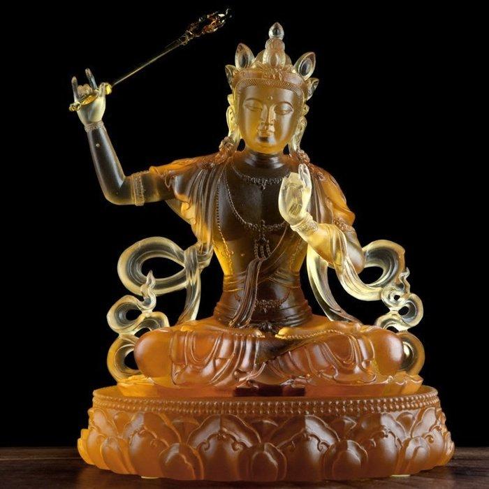 【玉寶軒】心如琉璃 佛像擺件琉璃藏傳密宗文殊菩薩文殊師利四大菩薩供奉