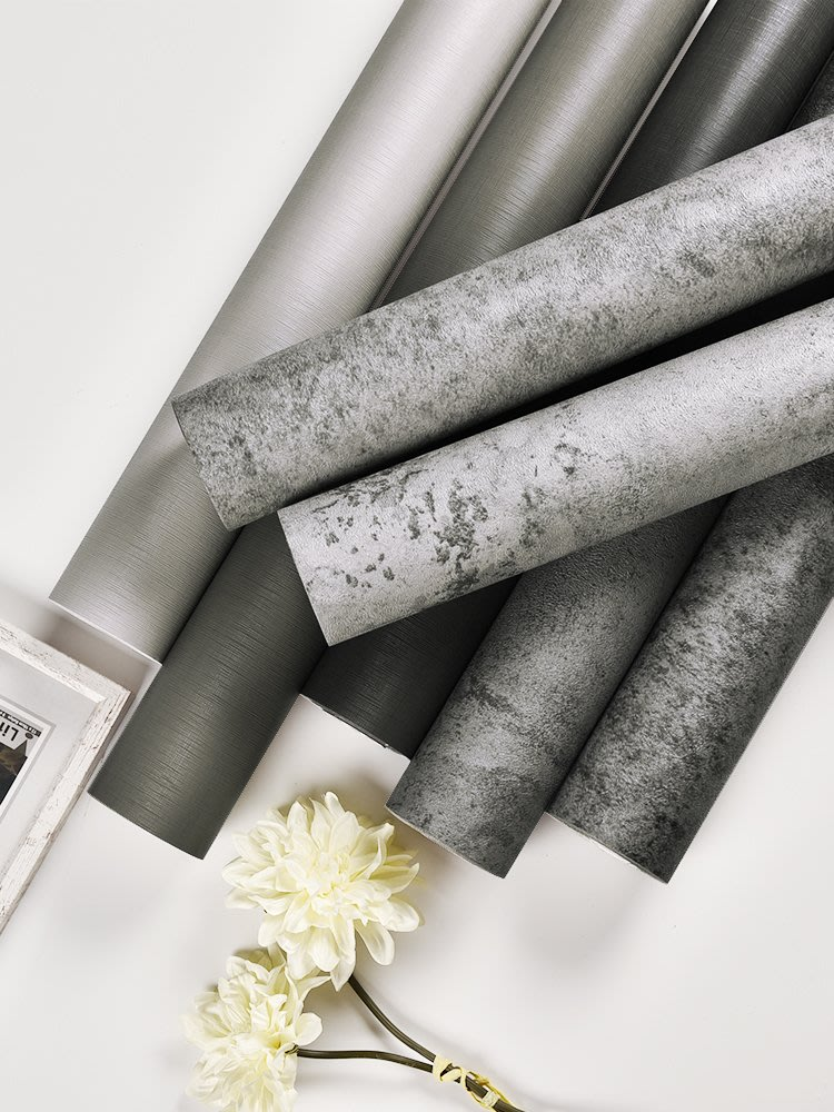 壁貼 墻紙自粘服裝店灰色壁紙北歐工業風墻貼裝飾臥室房間水泥墻貼紙