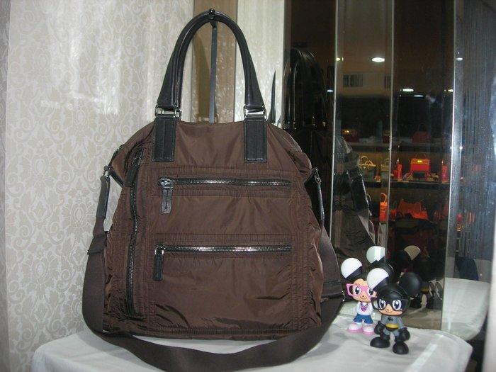典精品 TOD'S 真品 咖啡色 尼龍 肩背包 手提包 tote 拖特包 側背包 斜背包~ 現貨
