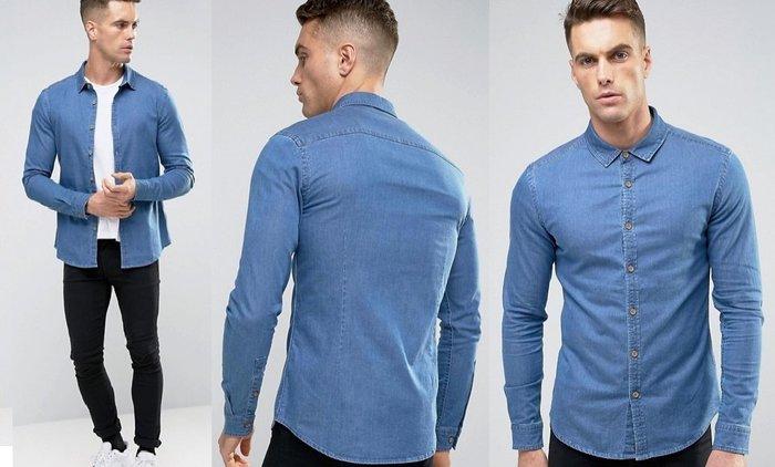 ◎美國代買◎ASOS合身剪裁經典百搭款藍色牛仔襯衫顯廋款~款歐美街風~大尺碼~搶手貨
