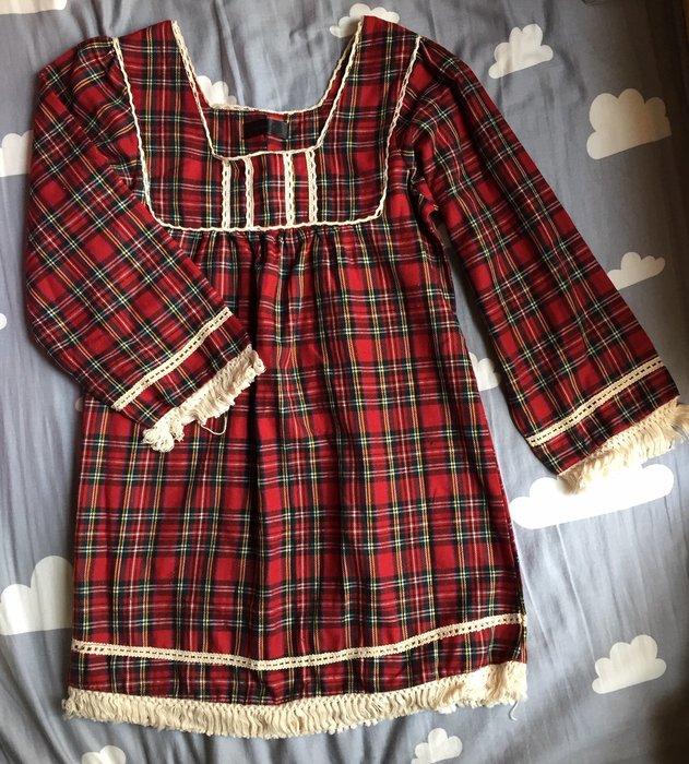 快速出貨#免運#~全新日本JEANASIS棉質鄉村風紅色格紋孕婦洋裝