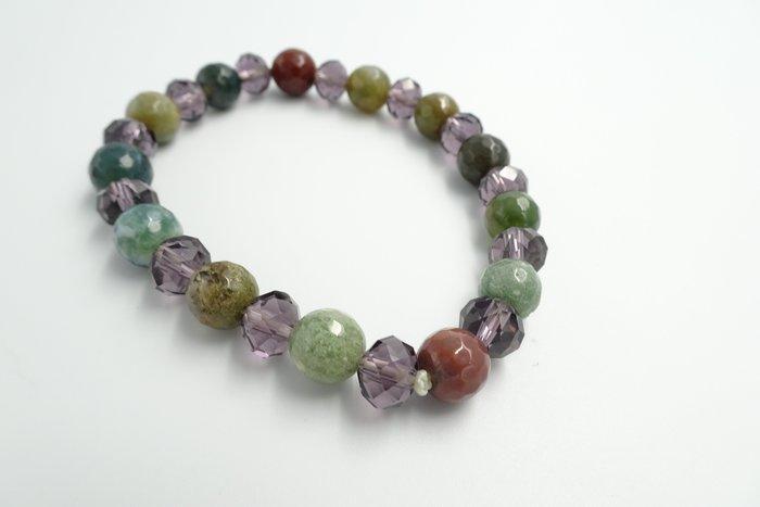 %玉承珠寶%天然七彩玉混搭紫色壓克拉珠手珠彈性手環 (送禮.自用兩相宜)
