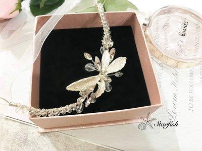 【海星 Starfish】與眾不同 白紗女神款晶枝銀葉質感手環