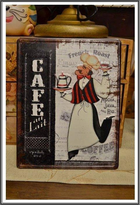 【【歐舍家飾】】鄉村復古鐵皮掛牌 仿舊咖啡服務生車壁貼掛板民宿餐廳房間客廳投資客裝飾主題餐廳簡餐店拍照道具營業場所