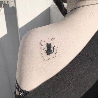 【萌古屋】】小黑貓的夢 - 防水紋身貼紙刺青貼紙 HC-3018