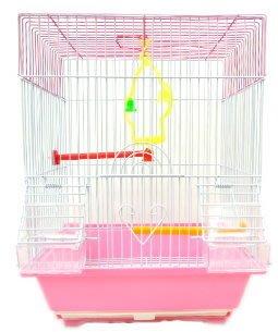 全新 現貨 平頂 造型 方頂屋 粉色 鳥籠 棲木 鞦韆 適合小型鸚鵡 小鸚 虎皮 橫斑 雀類