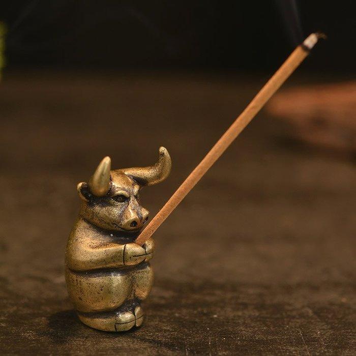 生肖公牛純銅香插 線香香爐家居工藝品茶寵擺件茶托架