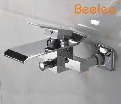【優上】入牆掛牆式瀑布玻璃帶手持花灑浴缸全銅冷熱水龍頭 Beelee