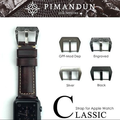 【皮曼頓】Apple Watch 42 44mm PANERAI 沛納海 勞力士 義大利瘋馬皮 錶帶 深棕 型號C039