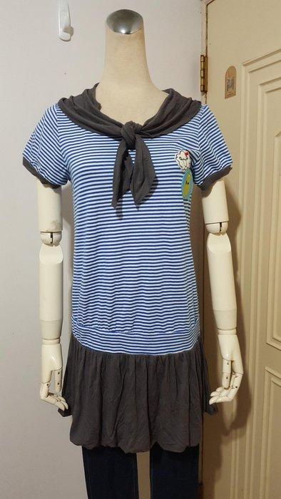 Dailo專櫃配色水手領結條紋棉質長版衫(適S~M)*250元直購價*