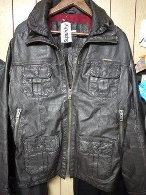 superdry 極度乾燥 brad leather jacket 皮衣外套  橘牌 咖啡色 刷舊 m號 紅內裡 現貨