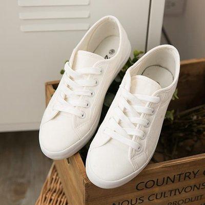 Ovan 女款 全白日系森林休閒帆布鞋 小白鞋