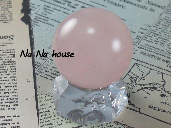 【娜娜HOUSE】☆天然 AA級玫瑰粉晶球35MM(含壓克力底座)◎粉嫩冰晶玫瑰色招喚幸福