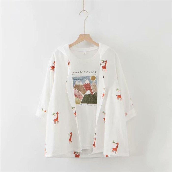 ☂ 糖糖 ☂ 大碼 可愛長頸鹿吃草印花連帽薄外套防曬衣-S19060306